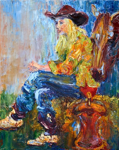 Cowgirl Contemplating by Lucinda Hayes