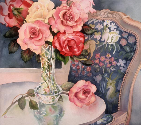 Flowers and a Chair by Lucinda Hayes