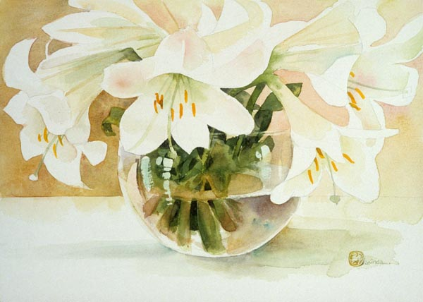Flowers in a Bowl by Lucinda Hayes