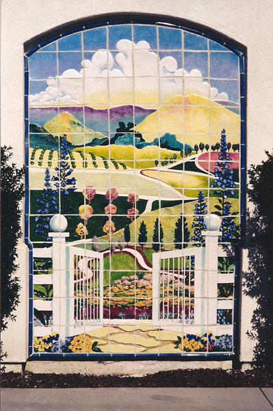 Clay Mural of San Pasqual Valley by Lucinda Hayes