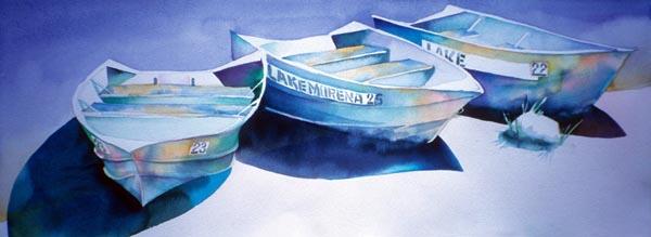 Three Dinghies by Lucinda Hayes