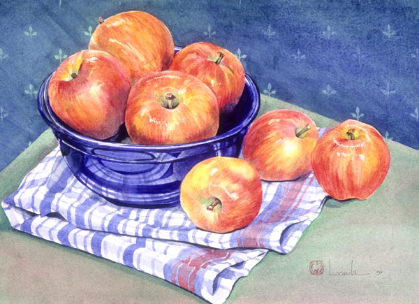 Apples and Leaves by Lucinda Hayes