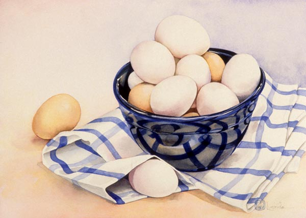 Eggs in a Blue Bowl by Lucinda Hayes